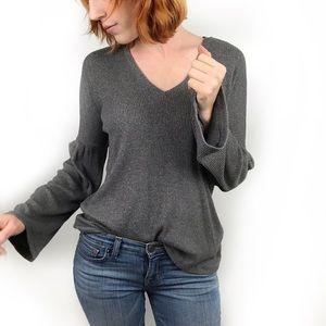 Lucky Brand soft gray bell sleeve long sleeve top